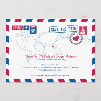 Thailand Airmail Wedding Save The Date