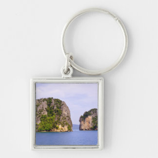 Thailand, Andaman Sea. Ao Phang Nga Islands in 2 Silver-Colored Square Keychain
