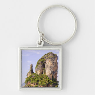 Thailand, Andaman Sea. Ao Phang Nga Islands in Silver-Colored Square Keychain