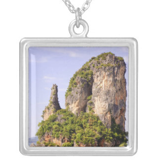 Thailand, Andaman Sea. Ao Phang Nga Islands in Silver Plated Necklace