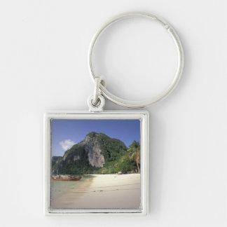 Thailand, Andaman Sea, Ko Phi Phi Island, Beach Silver-Colored Square Keychain
