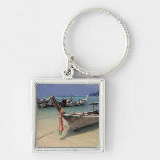 Thailand, Andaman Sea, Ko Phi Phi Island, Silver-Colored Square Keychain
