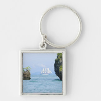 Thailand, Andaman Sea. Star Fyer clipper ship 2 Silver-Colored Square Keychain