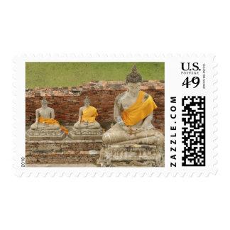 Thailand, Ayutthaya. Statues of sitting buddhas Postage Stamp