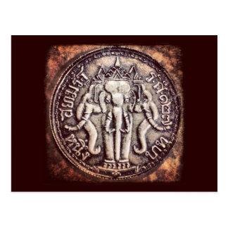 Thailand Baht Elephant Coin Postcard