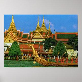 Thailand, Bangkok Grand Palace and Royal Barge Poster