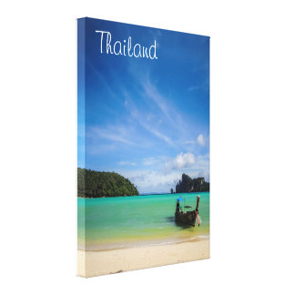 Thailand Beach Photo with Fishing Boat Canvas Print