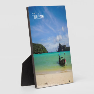 Thailand Beach Photo with Fishing Boat Plaque