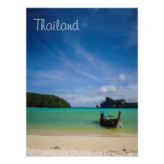 Thailand Beach Photo with Fishing Boat Poster