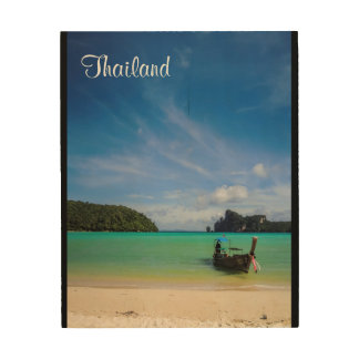 Thailand Beach Photo with Fishing Boat Wood Wall Art
