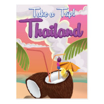 Thailand beach vacation poster postcard