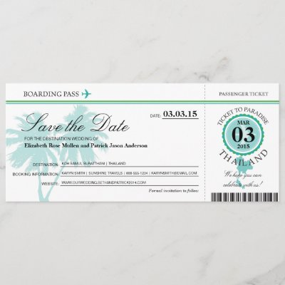 Thailand Boarding Pass Save the Date