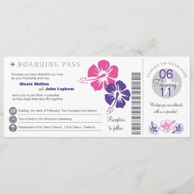 Thailand Boarding Pass Wedding Invitation