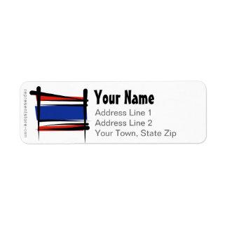 Thailand Brush Flag Label
