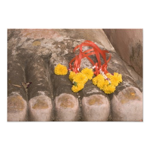 Thailand, Buddha's feet and Marigold offering Photo Print