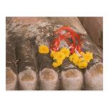 Thailand, Buddha's feet and Marigold offering Postcard