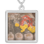 Thailand, Buddha's feet and Marigold offering Square Pendant Necklace