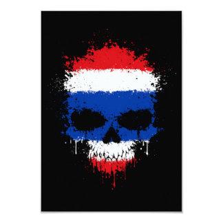 """Thailand Dripping Splatter Skull 3.5"""" X 5"""" Invitation Card"""