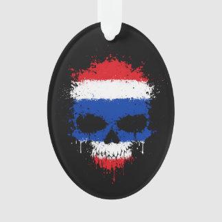 Thailand Dripping Splatter Skull Ornament