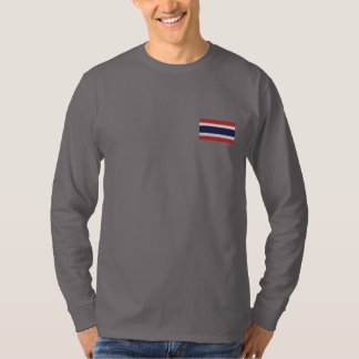 Thailand flag embroidered men's long sleeve shirt