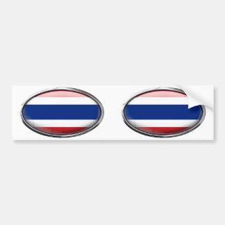 Thailand Flag in Glass Oval Bumper Sticker
