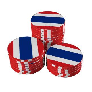 Thailand Flag Set Of Poker Chips