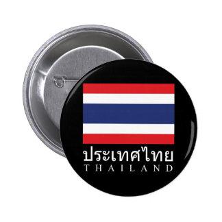 Thailand Flag With Thailand Word In Thai Language 2 Inch Round Button