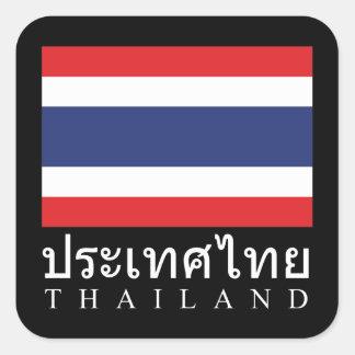 Thailand Flag With Thailand Word In Thai Language Stickers