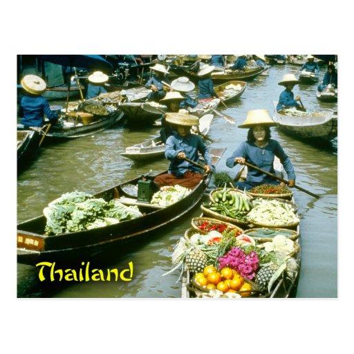 Thailand floating market postcards