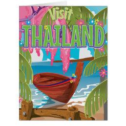 Thailand fun vintage travel poster card