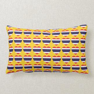 Thailand Heart Flag Lumbar Pillow