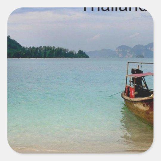 Thailand Krabi beach (new) (St.K) Square Sticker