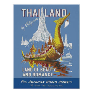 Thailand/Land of Beauty and Romance Vintage Travel Poster