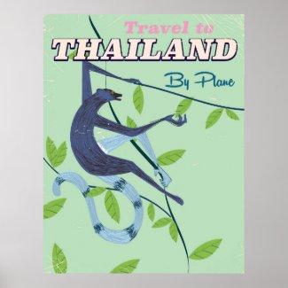 Thailand Monkey vintage travel print