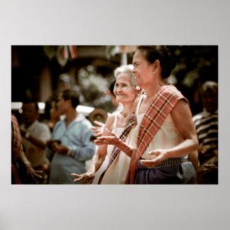 Thailand: Old Ladies dancing Poster