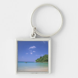 Thailand, Phuket Island. Beach. Silver-Colored Square Keychain