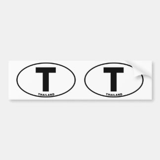 Thailand T Oval ID Identification Code Initials Bumper Sticker