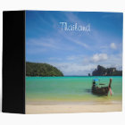 Thailand Travel Beach Photo with Fishing Boat Binder