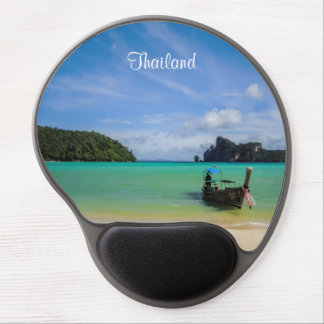 Thailand Travel Beach Photo with Fishing Boat Gel Mouse Pad