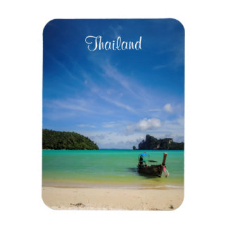 Thailand Travel Beach Photo with Fishing Boat Magnet