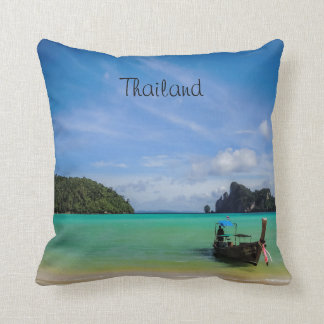 Thailand Travel Beach Photo with Fishing Boat Throw Pillow