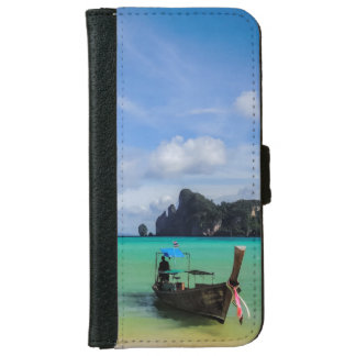 Thailand Travel Beach Photo with Fishing Boat Wallet Phone Case For iPhone 6/6s