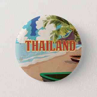 Thailand Vintage Travel Poster Button