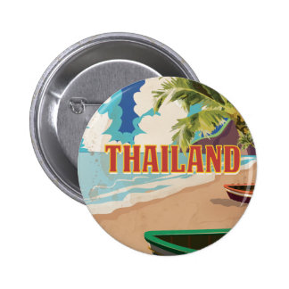 Thailand Vintage Travel Poster Button