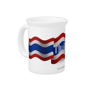 Thailand Waving Flag Beverage Pitchers