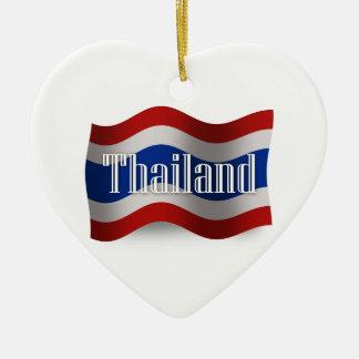 Thailand Waving Flag Ceramic Ornament