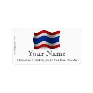 Thailand Waving Flag Label