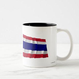 Thailand Waving Flag Two-Tone Coffee Mug