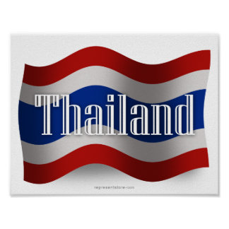 Thailand Waving Flag Poster