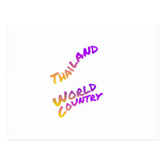 Thailand world country, colorful text art postcard